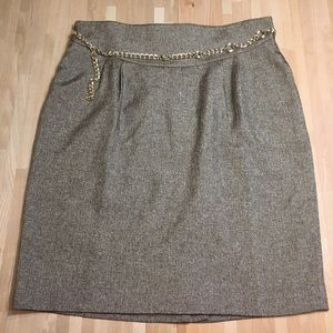 Loft Gold and Brown Tweed Pencil Skirt